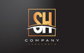 SH S H Golden Letter Logo Design with Gold Square and Swoosh.