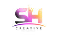 SH S H Letter Logo Design with Magenta Dots and Swoosh