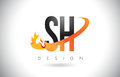 SH S H Letter Logo with Fire Flames Design and Orange Swoosh.