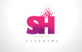 SH S H Letter Logo with Pink Purple Color and Particles Dots Des