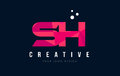 SH S H Letter Logo with Purple Low Poly Pink Triangles Concept