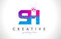 SH S H Letter Logo with Shattered Broken Blue Pink Texture Desig