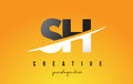 SH S H Letter Modern Logo Design with Yellow Background and Swoo