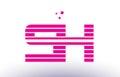 sh s h pink purple line stripe alphabet letter logo vector templ