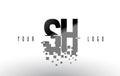 SH S H Pixel Letter Logo with Digital Shattered Black Squares