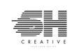 SH S H Zebra Letter Logo Design with Black and White Stripes