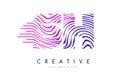 SH S H Zebra Lines Letter Logo Design with Magenta Colors