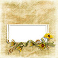 Shabby background with frame and flower Royalty Free Stock Photos