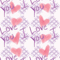 Shabby chic i love you pattern a marker or watercolor stylized of checkerboard hearts and the words Stock Photo