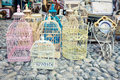 Shabby chic market candid shot of vintage cages on a flea Royalty Free Stock Image