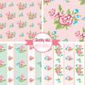 Shabby Chic Rose Patterns. Set seamless pattern. Vintage floral pattern, backgrounds.