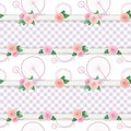 Shabby chic textile pattern background. Girly. Different fabric pieces collage, decorated with lace and roses. Raster Royalty Free Stock Photo