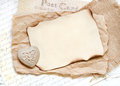Shabby chic valentines day background cream with heart Royalty Free Stock Photos