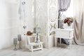 Shabby chic white room interior, wedding decor