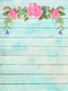 Shabby Chic Wood Background with Floral Vignette Royalty Free Stock Photo