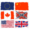 Shabby flags of Canada, China, Confederate army, European union,  Great britain and USA Royalty Free Stock Photo