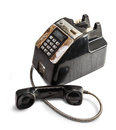 Shabby outdated telephone the in white background Royalty Free Stock Photo