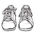 Shabby running shoes in black ink sports footwear vector illustration eps Royalty Free Stock Photo
