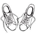 Shabby running shoes in black ink sports footwear vector illustration eps Stock Photo
