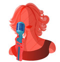 Shade girl microphone singer night Stock Photo