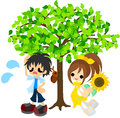 In the shade of a tree in the midsummer boy and girl resting hot day Stock Image