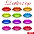 Shades of beautiful luscious multicolor lips vector illustration red blue green orange Royalty Free Stock Photos