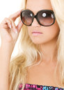 Shades picture of blonde in big over white Stock Photo