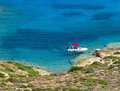 Shades of seawater on crete greece Stock Photo