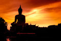 Shadow of the big buddha evening. Royalty Free Stock Photo