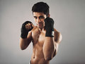 Shadow boxing to stay fit portrait of handsome young man studio shot of hispanic young man wearing gloves on grey Royalty Free Stock Image
