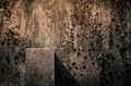 Shadow fall grungy decay background with block and Stock Image