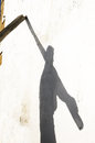 Shadow of fisherman with oars big Stock Photos
