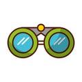 Shadow green binoculars cartoon Royalty Free Stock Photo