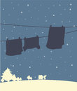 A shadow of hanging clothes in a winter season illustration Stock Photography
