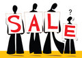 Shadow man cartoon sale sign Royalty Free Stock Photography