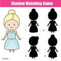 Shadow matching game with cute girl in princess dress