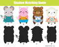 Shadow matching game. Kids activity. Animals theme