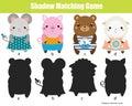 Shadow matching game. Kids activity. Animals theme