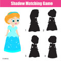 Shadow matching game. Kids activity with beautiful princess