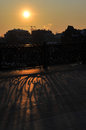 Fence Shadow at sunset Royalty Free Stock Photo