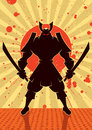 Shadow samurai cartoon illustration of warrior no transparency and gradients used Royalty Free Stock Photography