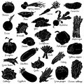 Shadow set with vegetables, vector cartoon stickers Royalty Free Stock Photo