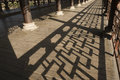 Shadows in ambulatory chinese traditional architecture design Royalty Free Stock Image