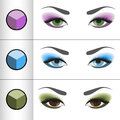 Shadows pallettes for different eye colors vector illustration of palettes Stock Images