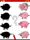 Shadows task with pig cartoon illustration of education shadow for preschool children pigs farm animal characters Royalty Free Stock Photography