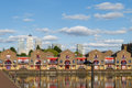 Shadwell basin london with canary wharf in background Stock Photo