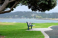 Shady seat a municipal under a tree coastal area and shelter from the sun Royalty Free Stock Photography