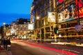Shaftesbury Avenue in London, UK, at night Royalty Free Stock Photo