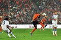 Shakhtar player tries to hold the ball hands Stock Image