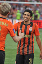 Shakhtar players great each other after the match between donetsk city ukraine vs metallurg donetsk city ukraine Stock Photography